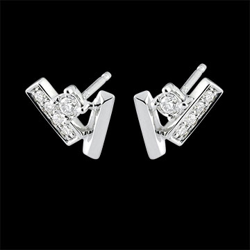 Orecchini Diamanti glaciali - Oro bianco - 9 carati - 10 Diamanti - 0.11 carati