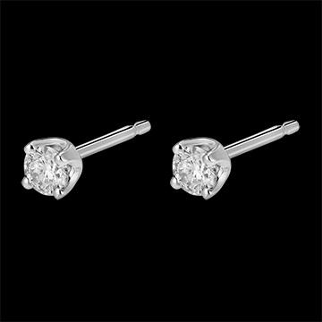Orecchini diamanti - punto luce - Oro bianco - 18 carati - 2 Diamanti