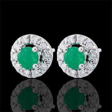 Orecchini Clévia - Oro Bianco - 9 carati - 20 Diamanti- 2 Smeraldi