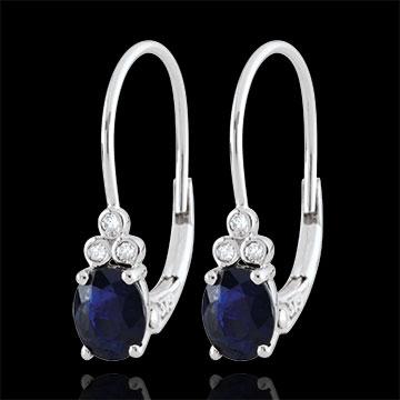 Orecchini Exquises - Oro bianco - 9 carati - 6 Diamanti - 2 Zaffiri