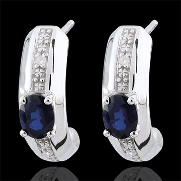 Orecchini Jalouse - Oro bianco - 9 carati - 4 Diamanti - 2 Zaffiri - 0.45 carati