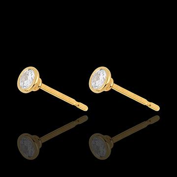 Orecchini Bambolina Solitario - Oro giallo - 18 carati - 2 Diamanti - 0.41 carati