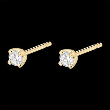 Orecchini diamanti - punto luce - Oro giallo - 18 carati - 2 Diamanti