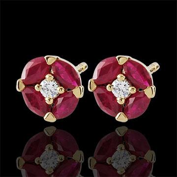 Orecchini Papavero - Oro giallo - 9 carati - Rubini - Diamanti - 0.76 carati