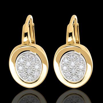 Orecchini dormeuse Alcova - Oro giallo e Oro bianco pavé - 18 carati - 20 Diamanti - 0.24 carati