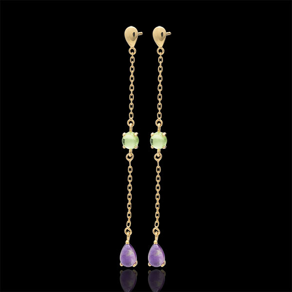 Orecchini Elinor - Oro giallo - 9 carati - 2 Ametiste - 2 Olivine