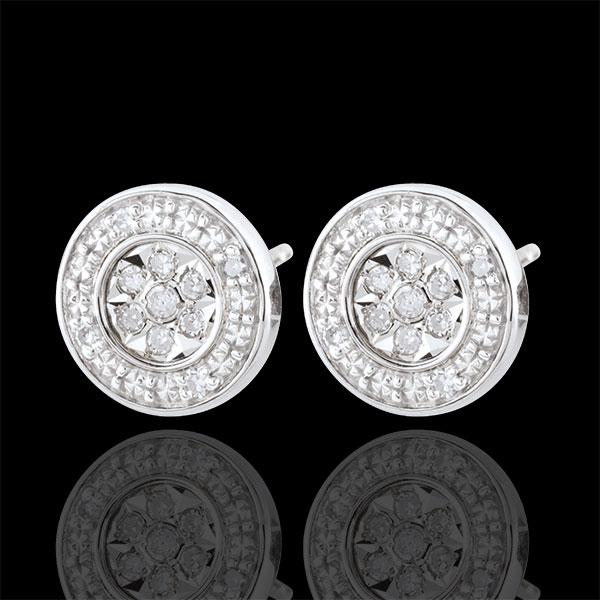 Orecchini Elsa - Oro bianco - 9 carati - 22 diamanti