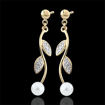 Orecchini Estate di perla - Oro bianco e Oro giallo - 9 carati - 2 Perle - 0.98 carati