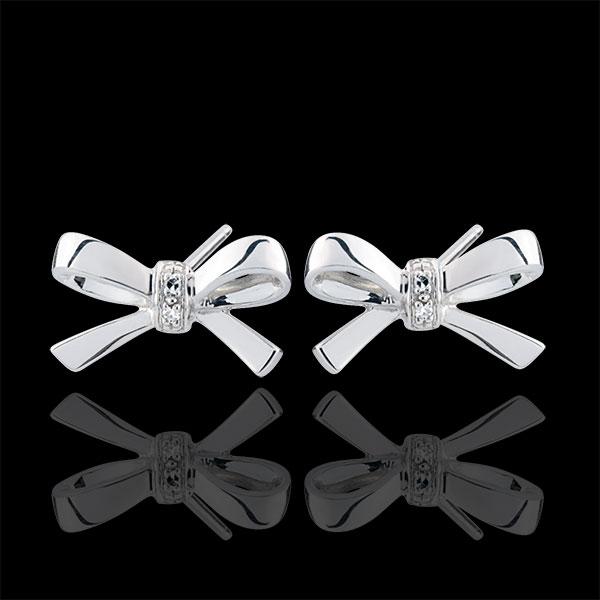 Orecchini Fiocco Carlotta - Oro bianco - Oro bianco - 9 carati - 4 Diamanti