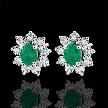 Orecchini Illusione Floreale - Oro bianco - 9 carati - 18 Diamanti - 0.108 carati - 2 Smeraldi