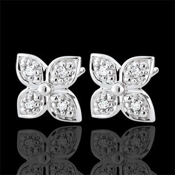 Orecchini Fiore d'eternità - Oro bianco - 9 carati - 8 Diamanti