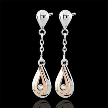 Orecchini Gocce di rugiada - Oro bianco e Oro rosa - 18 carati - 2 Diamanti