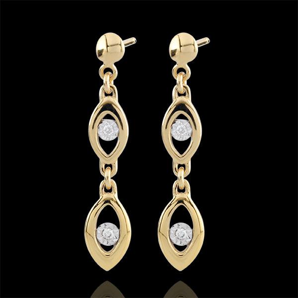 Orecchini Il fascino del Pavone - Oro bianco e Oro giallo - 9 carati - 4 Diamanti