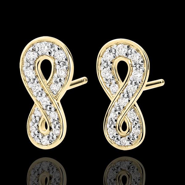 Orecchini Infinito - Oro giallo - 9 carati - Diamanti