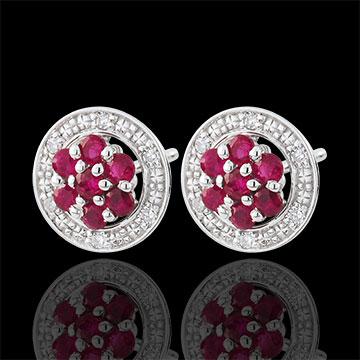 Orecchini Isalia - Oro bianco - 9 carati - 12 Diamanti - 14 Rubini- 0.32 carati