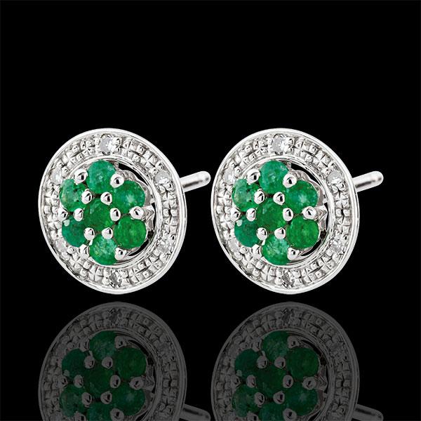 Orecchini Isalia - Oro bianco - 9 carati - 12 Diamanti - 14 Smeraldi - 0.27 carati