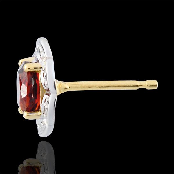 Orecchini Margherita Lilly - Oro bianco e Oro giallo - 9 carati - Granato - 0.93 carati