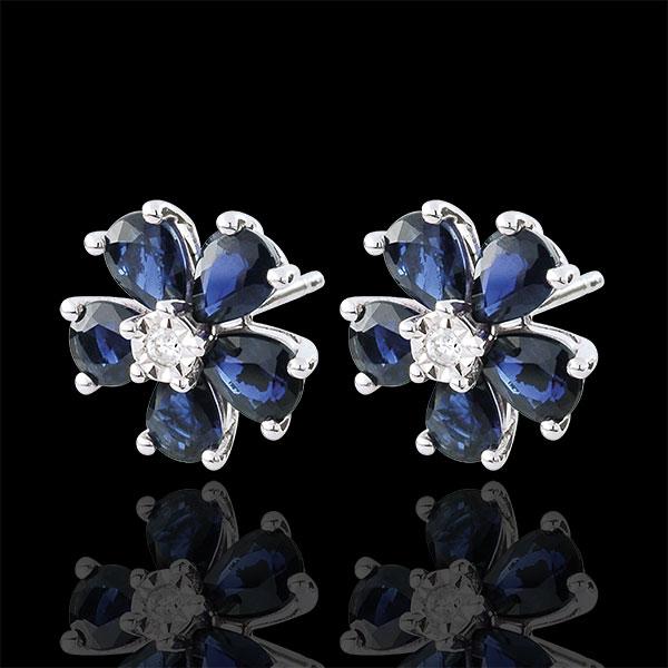 Orecchini Maria Flora - Oro bianco - 9 carati - 10 Zaffiri - 2.13 carati - 2 Diamanti