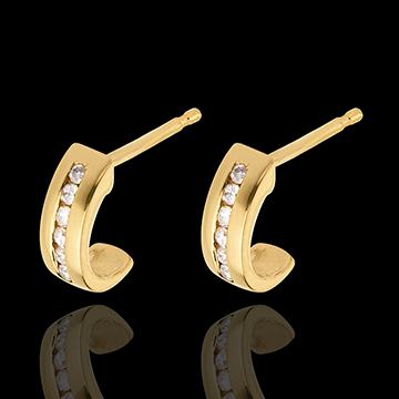 Orecchini Mezza Luna - Oro giallo pavé - 18 carati - 12 Diamanti - 0.11 carati