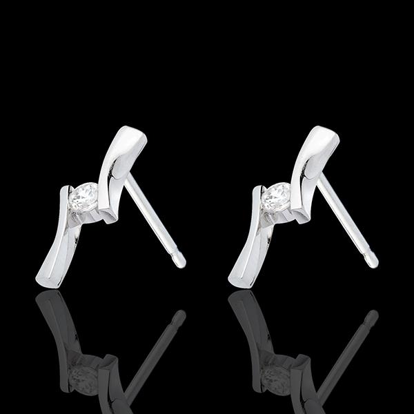 Orecchini Nido Prezioso - Apostrofo diamanti - Oro bianco - 18 carati - Diamante
