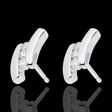 Orecchini Nido Prezioso - Citazione - Oro bianco - 18 carati - 6 Diamanti - 0.18 carati