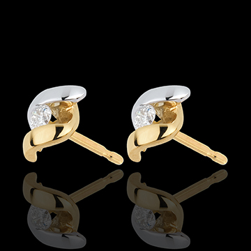 Orecchini Nido Prezioso - Signorina - Oro bianco e Oro giallo - 18 carati - Diamanti