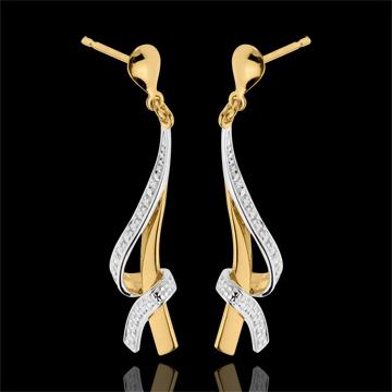 Orecchini Nodi - Oro giallo e Oro bianco - 18 carati - 2 Diamanti