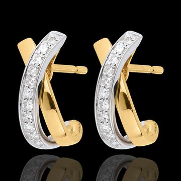 Orecchini Nodi Tandem pavé - Oro giallo e Oro bianco - 18 carati - 22 Diamanti - 0.13 carati