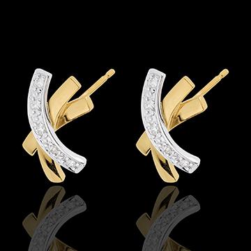 Orecchini Nodo Stella - Oro bianco e Oro giallo - 18 carati - 10 Diamanti