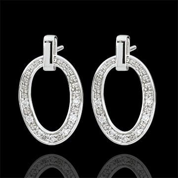 Orecchini Ovalia - Oro bianco - 18 carati - 14 Diamanti