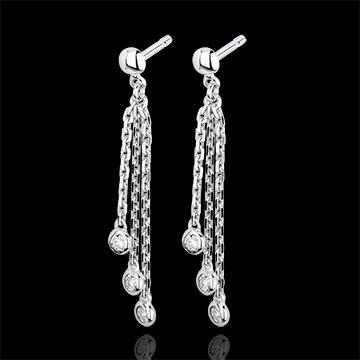 Orecchini pendenti Cascata - Oro bianco - 9 carati - Diamanti