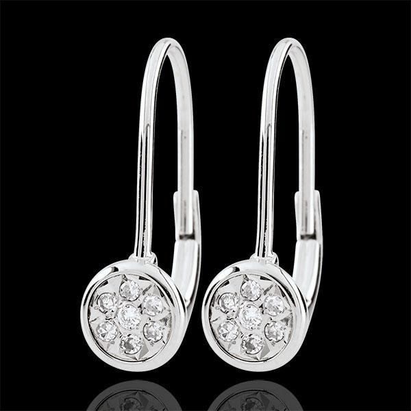 Orecchini pendenti Elga - Oro bianco - 9 carati - 20 Diamanti