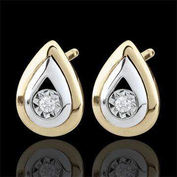 Orecchini pendenti - Lacrime di Antilope - Oro giallo e Oro bianco - 9 carati - 2 Diamanti