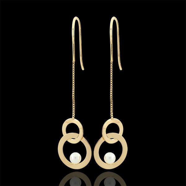 Orecchini Perla sospesa - Oro giallo - 9 carati - 2 Perle