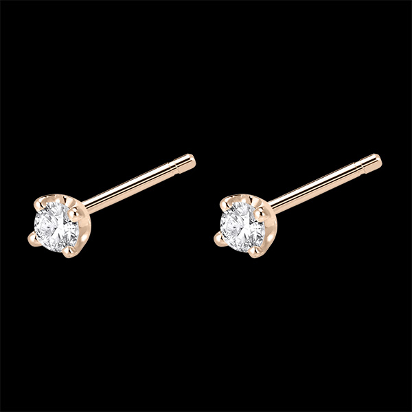 Orecchini punto luce - Oro rosa - 18 carati - 2 Diamanti - 0.15 carati