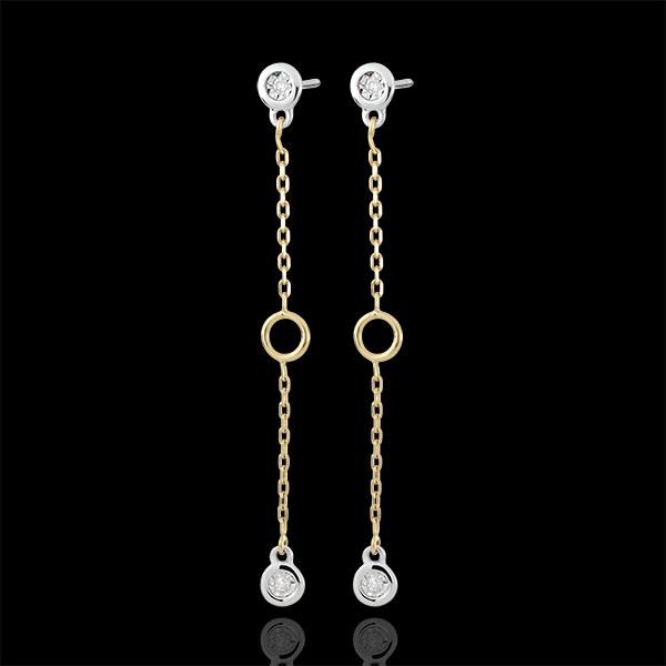 Orecchini Satine - Oro bianco e Oro giallo - 9 carati - 4 Diamanti