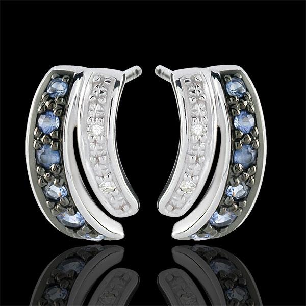 Orecchini Savina - Oro bianco - 9 carati - 12 Zaffiri blu - 4 Diamanti - 0.24 carati