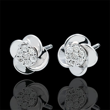 Orecchini Sboccio - Petali di Rosa - Oro bianco -18 carati - Diamanti