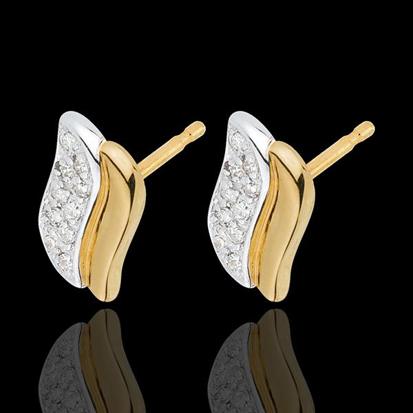 Orecchini Simbolo Magico - Oro bianco e Oro giallo - 18 carati - 20 Diamanti