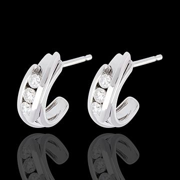 Orecchini Trilogy Bipolari - Oro bianco - 18 carati - 6 Diamanti