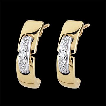 Orecchini Unione senza tempo - Oro giallo - 9 carati - 10 Diamanti