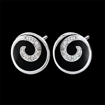 Orecchini Vortice prezioso - Oro bianco - 9 carati - 6 Diamanti