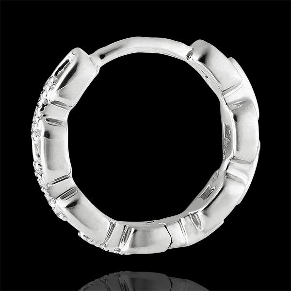 Orient Gaze Hoop Earrings - Cuban Link - white gold 9 carats and diamonds