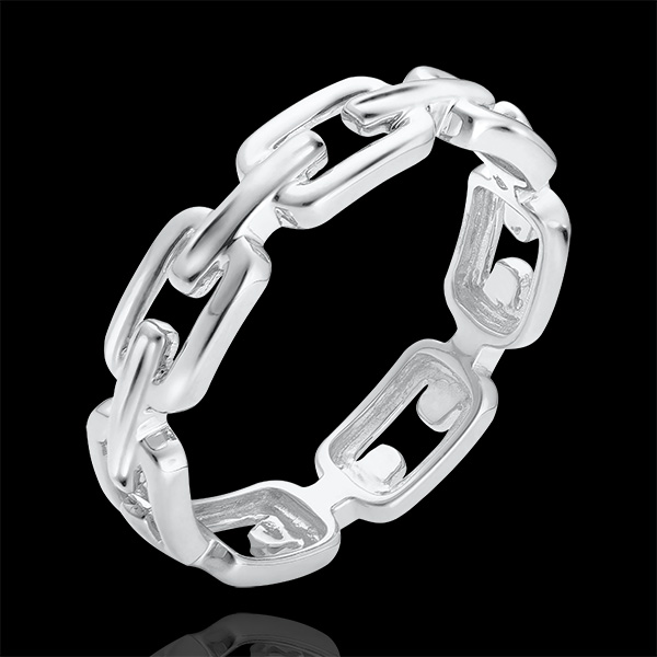 Orient Gaze Ring - Cuban Link Medium - white gold 9 carats