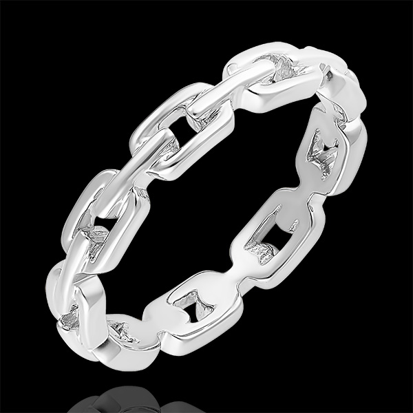 Orient Gaze Ring - Cuban Link Thin - white gold 18 carats