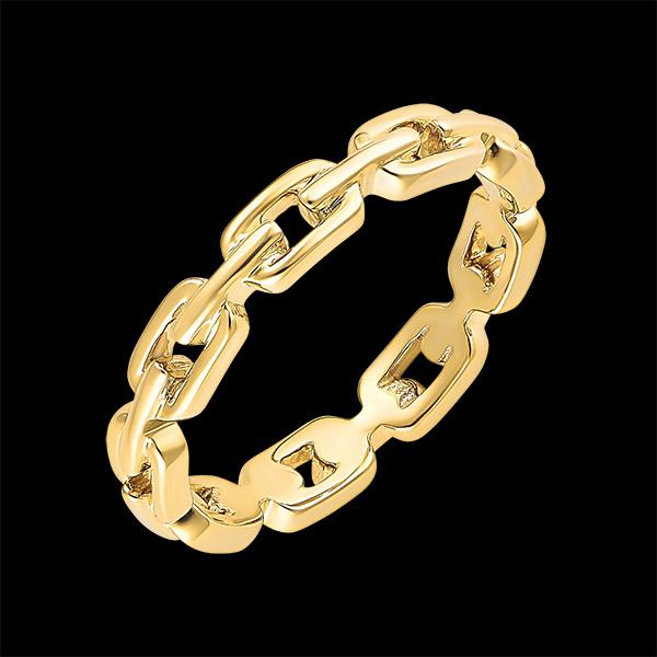 Orient Gaze Ring - Cuban Link Thin - yellow gold 18 carats