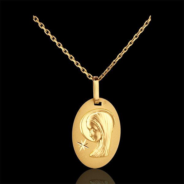 Owalny medalik z Matką Boską i gwiazdą - złoto żółte 18-karatowe