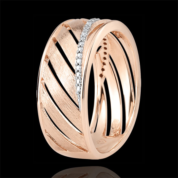 Palm-inspired Ring - 18 carat pink polished gold and diamonds