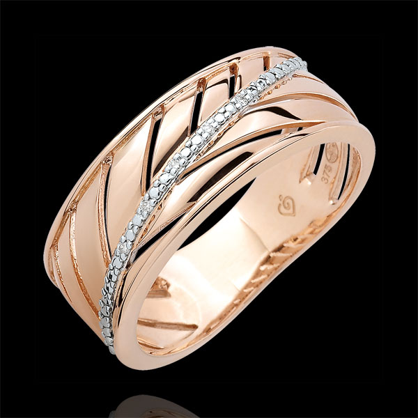 Palm-inspired Ring - 9 carat pink gold and diamonds