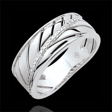 Palm-inspired Ring - 9 carat white gold and diamonds